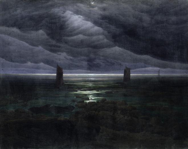 Sea Shore in Moonlight, 1835-36 (oil on canvas)